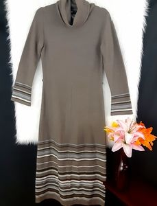 Carole Little Grey Cowl Neck Sweater Dress Size M